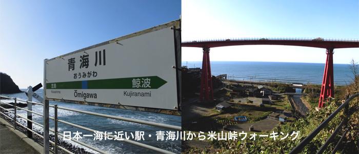 米山大橋と青海川駅